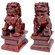 "Oriental Furniture 6"" Fu Dog Statues in Deep Burgundy"