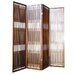 Four Panel Wooden Room Divider in Walnut