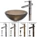 Clear Brown Glass Vessel Sink and Bamboo Faucet