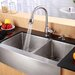 "Farmhouse 36"" Double Bowl Kitchen Sink with Faucet and Soap Dispenser"