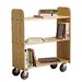 15&quot; Solid Oak Book Truck With 3 Flat Shelves
