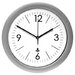 Quartz Rounded Rim Clock, 13-1/4in, Silver