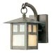 Montclair Mission  Outdoor Wall Lantern with Iridescent Glass in Verde Patina