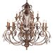 Iron and Crystal Eighteen Light Chandelier in Crackled Bronze with Vintage Stone Accents