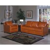 Chelsea Deco 3 Seat Leather Sofa Set
