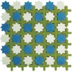 "Aquarelle 12"" x 12"" Ceramic Wall Tile in Star Blue Mosaic"