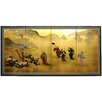 "36"" Gold Leaf Flower Dance Silk Screen with Bracket"