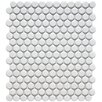 "Retro 11-1/2"" x 9-7/8"" Glazed Porcelain Penni Mosaic in Matte White"