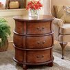 Plantation Cherry Three Drawer Barrel End Table