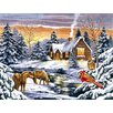 Paint By Numbers Large Snow Scene Painting
