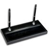 1000 Series Classic Leather Double Silver Pen Stand in Black