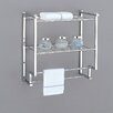 Metro Two Tier Wall Mounting Rack with Towel Bars in Chrome