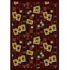 Gaming and Entertainment Feeling Lucky Burgundy Novelty Rug