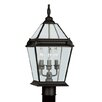 "Fleur De Lis 21"" x 9"" Three Light Outdoor Post Lantern in Bronze"