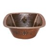 15&quot; Square Fleur De Lis Copper Bar Sink in Oil Rubbed Bronze