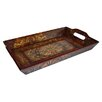 Wooden Rectangular Tray with Scroll Design in Brown