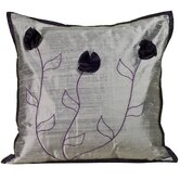 Flower Silk Decorative Pillow in Silver and Plum