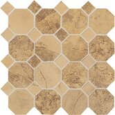 "Aspen Lodge 12"" x 12"" Octagon Dot Mosaic Field Tile in Golden Ridge"