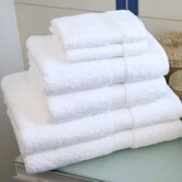 Six Piece Terry Towel Set in Pure White