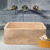 Rectangular Shape Vessel Sink in White Sands Travertine
