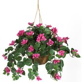 Silk Bougainvillea Plant with Hanging Basket in Beauty Pink