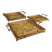 Malta 3 Piece Square Serving Tray Set