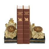 Two Piece Oak and Acorn Bookend Set
