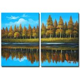 2 Piece 'Country Lake' Canvas Art Set