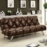Jenello Vinyl Convertible Sleeper Sofa