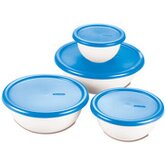 8 Piece Covered Bowl Set in White and Blue
