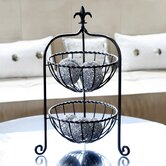 Fleur-de-Lis Finial Two Tier Basket