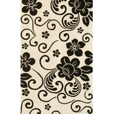 Floral White/Black Rug