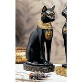 Egyptian Cat Goddess Bastet with Earrings Statue in Matte Black