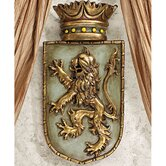 Medieval Rampant Lion Shield Wall Sculptures (Set of Two)
