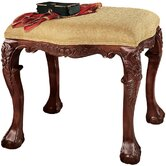 French Baroque Honey Upholstered Medium Bench