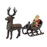 Christmas Santa on Sleigh with Reindeer Statue