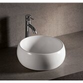 "Isabella Round 15"" Vessel Sink with Center Drain in White"
