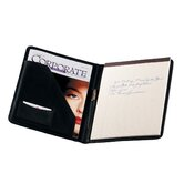 Man-Made Leather Writing Padfolio in Black