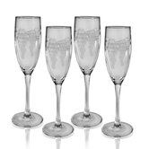 Set of 4 Champagne Flute 5.75 oz. Hand Cut Sonoma Pattern