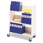 Single-Sided Slant Shelf Steel Book Cart, Three Shelves, 31 x 13 x 42, Putty