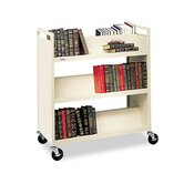 Double-Sided Slant Shelf Steel Book Cart, Six Shelves, 37 x 18 x 42, Putty