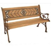 Amarillo Rose Wood and Cast Iron Park Bench