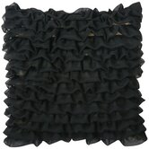 "Yorke 16"" x 16"" Pillow with Pleated Fringes in Black"