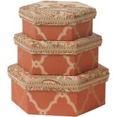 Alamosa Hexagonal Boxes with Appliqu&eacute; ( Set of 3 )