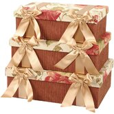 Brianza Rectangle Box with Bow and Ribbon, Lined Set of 3