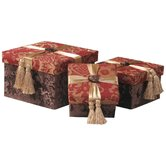 Bacara Largest Storage Gift Boxes with Self Button, Ribbon and Tassels ( Set of 3 )