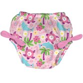 Tie Swim Diaper Cover in Light Pink Sealife