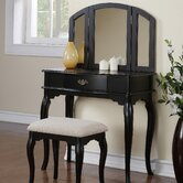 Bobkona Jaden Bedroom Vanity Set with Stool in Black