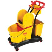 WaveBrake Mopping Trolley Down-Press Bucket / Wringer Combo in Yellow