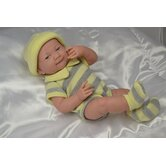 "La Newborn - 14"" Real Girl Vinyl Doll with Yellow Knit Outfit"